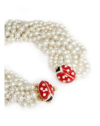 Kenneth Jay Lane White Ladybird Clasp Pearl Choker Necklace