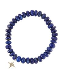 Sydney Evan | Metallic 8Mm Faceted Lapis Beaded Bracelet With 14K Yellow Gold/Diamond Small Evil Eye Charm (Made To Order) | Lyst