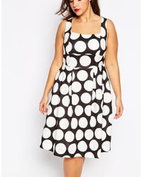ASOS Black Debutante Dress In Large Spot Print