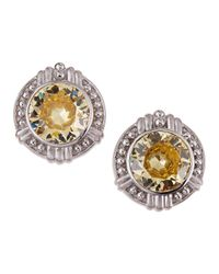 Judith Ripka | Metallic Large Round Canary Crystal Earrings | Lyst