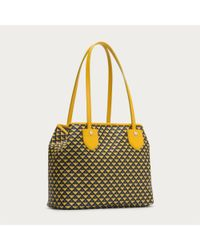 Bally Yellow Bernina Small Women ́s Small Coated Canvas Tote Bag In Sunflower