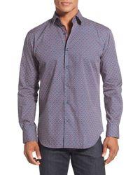 Bugatchi - Purple Shaped Fit Long Sleeve Geo Pattern Sport Shirt for Men - Lyst