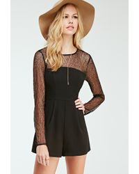 e823ed3ec148 Forever 21 Pleated Lace-paneled Romper in Black - Lyst