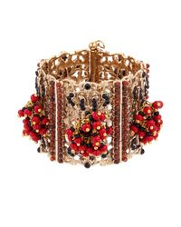 Etro | Metallic Bead And Crystal-Embellished Brass Cuff | Lyst