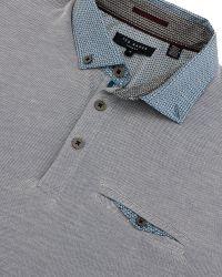 Ted Baker Blue Hoxtan Woven Collar Polo Shirt for men