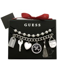 Guess | Metallic Silver-tone Charm And Imitation Pearl Bracelet Set | Lyst