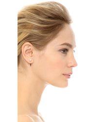 Fallon - Metallic Swarovski Imitation Pearl Microspike Earrings - Pearl/Gold - Lyst