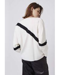 TOPSHOP - White Contrast Grograin Sweatshirt - Lyst