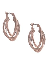 Anne Klein | Pink Rose Goldtone Multi-strand Hoop Earrings | Lyst