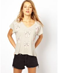 Wildfox - Natural Little Bows Grandma Tshirt - Lyst