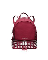 Michael Kors Red Rhea Extra-small Leather Backpack