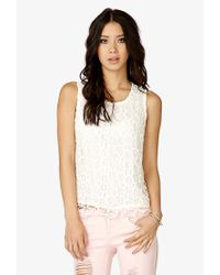 Forever 21 - Natural Crocheted Sleeveless Top - Lyst
