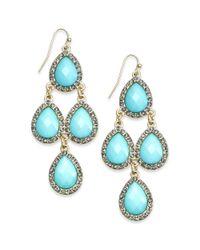 INC International Concepts Blue Goldtone Pavè Aqua Teardrop Chandelier Earrings