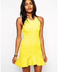 Shakuhachi | Yellow Dress In Neoprene With Peplum Frill | Lyst