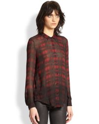 The Kooples - Red Cotton & Silk Plaid Shirt - Lyst