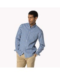 Tommy Hilfiger   Blue Cotton Check Fitted Shirt for Men   Lyst