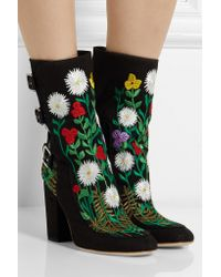 Laurence Dacade Black Merli Floral-embroidered Canvas Ankle Boots