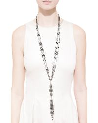 Gioia | Black Diamond Beads and Pearls Tassel Necklace | Lyst