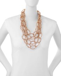 Panacea | Metallic Multi-strand Crystal Link Necklace | Lyst