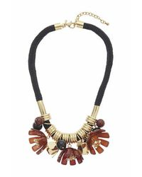 TOPSHOP | Brown Multi-flower Cord Necklace | Lyst