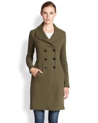 James Perse | Natural Doublebreasted Cotton Jersey Coat | Lyst