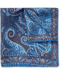 Etro - Blue Paisleyprint Silk Pocket Square for Men - Lyst