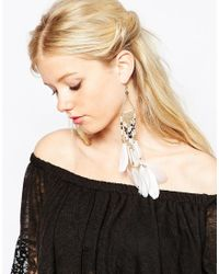 ALDO - White Onawiel Feather Earrings - Lyst