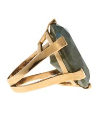 Stephen Dweck Green Oval-Cut Labradorite Ring