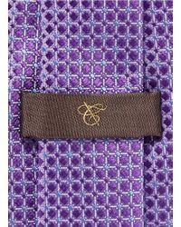 Canali - Purple Glossy Check Silk Tie for Men - Lyst