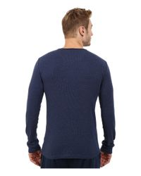 Kenneth Cole Reaction   Blue Ribbed Long Sleeve Henley for Men   Lyst