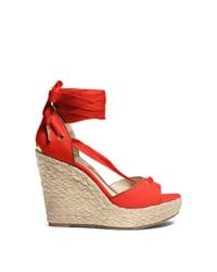 Michael Kors - Orange Lilah Canvas And Leather Wedge - Lyst