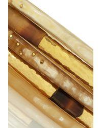 Ashley Pittman Metallic Nuru Set Of Five Horn And Gold-Tone Bangles