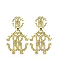 Roberto Cavalli | Metallic Rc Luxe Gold Tone Metal Signature Earrings | Lyst
