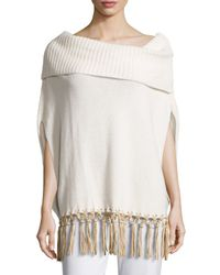 Agnona | Natural Boat-neck Knit Cape W/leather Fringe | Lyst