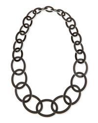 Kenneth Jay Lane - Enamel Oval Link Necklace Blackwhite - Lyst