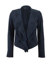Lamarque | Blue Suede Cascade Blazer | Lyst