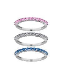 Lord & Taylor | Metallic Multi-color Sapphire And 14k White Gold Stacked Ring Set | Lyst