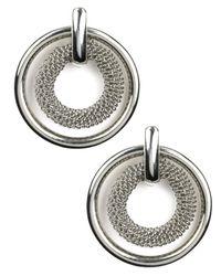 Anne Klein | Metallic Silver-tone Circle Button Stud Earrings | Lyst
