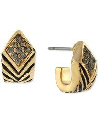 BCBGeneration | Metallic Gold-tone Pavé Geometric Huggie Hoop Earrings | Lyst