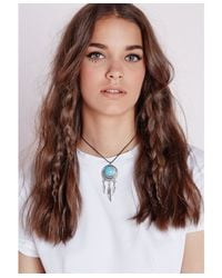 Missguided | Metallic Stone Detail Dreamcatcher Choker Silver | Lyst