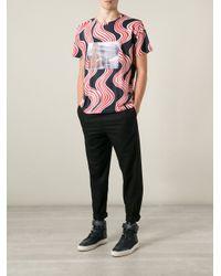 Raf Simons Red Patterned Photo Print T-Shirt for men