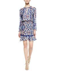 Parker - Blue Ora Long-sleeve Printed Dress - Lyst