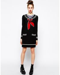Love Moschino | Black Long Sleeve Sweater Dress With Sailor Neck | Lyst