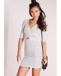 Missguided | Cross Front Cut Out Bodycon Dress White Stripe | Lyst