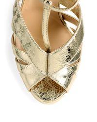 Nicholas Kirkwood | Laceprint Metallic Leather Platform Sandals | Lyst