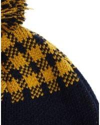 ASOS | Blue Bobble Beanie Hat With Buffalo Check for Men | Lyst