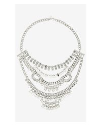 Express | Metallic Mixed Rhinestone Bib Necklace | Lyst
