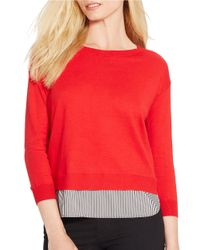 Lauren by Ralph Lauren | Petite Mock Layered Crewneck Sweater | Lyst