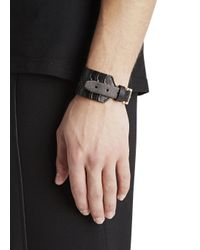 Alexander McQueen | Black Ribcage Embossed Leather Cuff for Men | Lyst