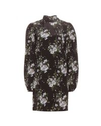 Alexander McQueen - Black Tie-back Silk Turtleneck Shift Dress - Lyst